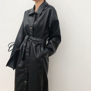WSYORE Cool PU Leather Long Jacket New Autumn Women Loose Belt PU Leather Windbreaker Trench Coat Slim Spring Jacket NS939a 201009