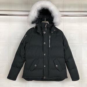 2020 Hommes Vestes coupe-vent chaud épais Lettres à capuchon Broderie Mode Casual Veste d'hiver Down Jacket Europe Taille du S-2XL Noir