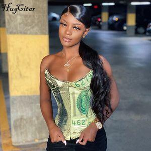 Hugcitar 2020 della cinghia di spaghetti all'inizio Money Stampa del tubo superiore sexy corsetto Autunno Inverno Moda Donna Streetwear Outfits Club Tank Top