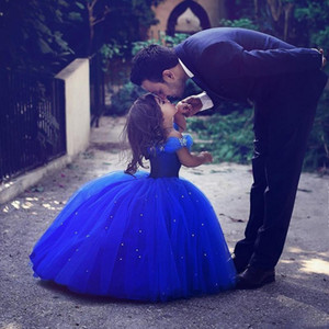 Royal Blue Cinderella Flower Girl Dresses For Weddings Off The Shoulder Beads Ball Gown Girls Pageant Dress Kids Toddler Brithday Party Gown