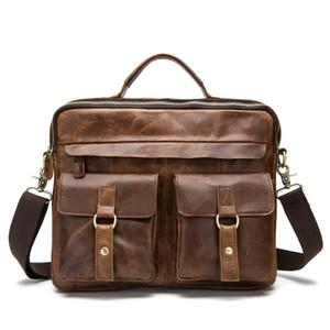 retro Briefcases Genuine Leather Men Bag male Casual Tote Shoulder Crossbody Bags messenger men business leather bag Laptop flap