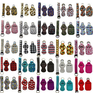 3 Pieces Travel Keychain Holders Kits, Including 30ml Hand Sanitizer Holder Keychain, Wristlet Keychains Lanyard, Chapstick Holder for Tra
