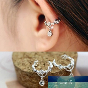 New 1 Pair Simple Fashion Ear Cuff Wrap Rhinestone Cartilage Clip On Non Piercing Earring