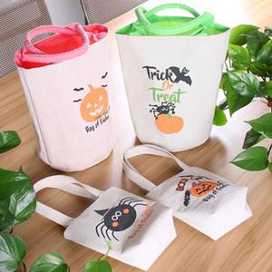 Halloween Trick o Trate Bolsa de asas con manijas Bolsa de lona reutilizable para regalos de caramelo Favores de comestibles Compras para niños adultos EWB2079