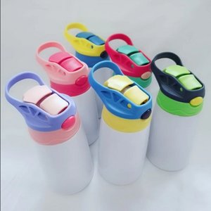 12oz Sublimation Sippy Cup 350ml sublimation Children Water Bottle with straw lid Portable Stainless Steel Drinking tumbler Sea Ship HHB1799