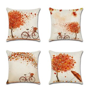 Christmas Cushion Covers Set of 4 Cotton Linen Print Cushion Covers Decorative Cover for Sofa Office Pillow Case