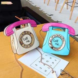 Womens Fashion Handbags New Fashion Pu Telephone Style Creative Funny Shoulder Bag Personalized Phone Messenger Bag