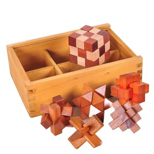6 Pcs Set New Design Brain Teaser Kong Ming Lock 3D Wooden Interlocking Burr Puzzles Game Toy Learning Education Puzzle Toys Y200413