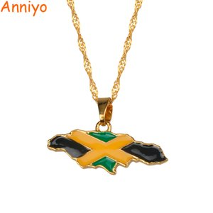 Jamaica Map And National Flag Pendant Necklaces Gold Color Jewelry Jamaican Gifts #080406