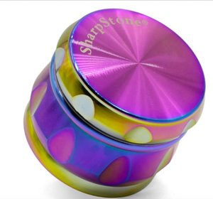 63mm Drum Rainbow Metal Herb Grinder For Tobacco 4 Pieces Sharpstone Zinc Alloy Herb Grinders Rainbow Grinder