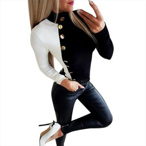Fashion 2020 New Spring Autumn Women Sweater Knitted Long Sleeve Turtleneck Sexy Slim Office Lady Button Casual Sweaters Tops