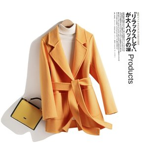Off-season clearance new slim double-sided cashmere female short Hepburn style small pure wool coat
