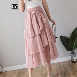 Ly Varey Lin Mujeres VERANO ROVIDO SWEET CARTAMIENTO Faldas largas Slim Elastic Cintura HEM Asimétrico Skirt1