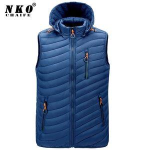 CHAIFENKO Men's Winter Sleeveless Vest Jacket Waterproof Thicken Warm Hooded Vest Jacket Men Autumn Fashion Casual Waistcoat Men
