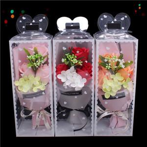 3PCS Rose Soap Flower Bouquet Gift Box Decor with Soap Flower DIY Wedding Christmas Home Decor Flower Shop Supplies