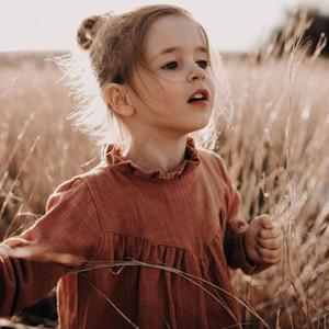 Kids Clothing Toddler Kids Girls Dress Linen Dress Brown Color Spring Baby Girls Dresses European & America Style Clothing