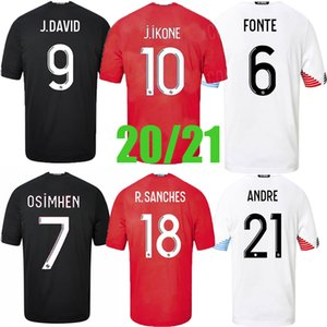 2020 2021 Lille OSC Soccer-Trikots Männer Remy Fonte Bamba Yazici Football Hemden 2020 2021 Lille Olympique 75th Jikone Uniformen Thailand