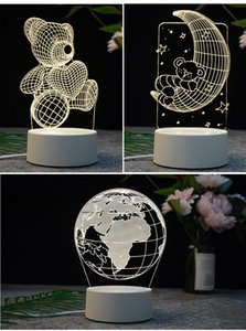 Colorful Touch LED Night Light Creative Christmas 3D Table Lamp Acrylic Bedroom Bedside Atmosphere Burner Christmas Decoration