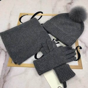 2020 cotton knitting top quality grey Hats & Scarves and Glove Sets women winter comfortable warm Hats, Scarves Sets with box