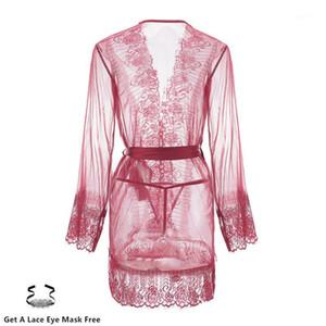 Cyhwr Sexy Floral Dentelle Temptation Fil Sous-vêtements avec strings Femmes Nightgowns1