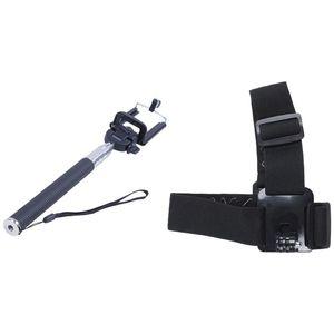 1 Pcs Black Waterproof Extendable Self-Portrait Self Self-Shooting Stick & 1 Pcs Action Camera Head Strap Mount