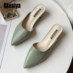 2020 novas senhoras dedo apontado chinelos mulas moda salto alto meados sapatos de verão chinelos cáqui Preto sapatas das mulheres verde S118 1006