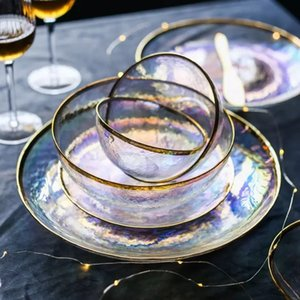 Luxury Rainbow Glass Salad Bowl Fruit Rice Soup Serving Bowls Tableware Dinnerware Kitchen Glassware Food Storage Cake Dish C1108