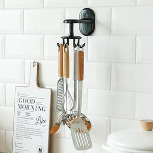 6 Hooks Multi-Purpose Hooks Kitchen Utensils Storage Rack Wall Mounted Punch-free Coat Hat Clothes Hook Shelf Rotatable
