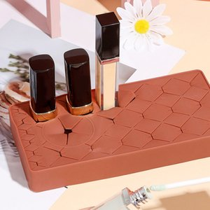 Lipstick Organizer Silicone Lipstick Holder Cosmetic Organizer, 23 Slots Makeup Box Display Case for Brushes Lipsticks Jewelry
