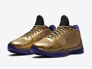 Black Mamba 5 Temple de la renommée Mamba Mentality Metallic Gold vente terrain pourpre avec la boîte 2020 Nouveau Hommes Chaussures de basket gros US7-US12