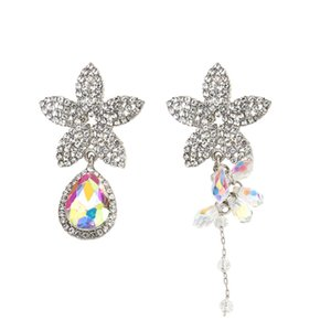 Asymmetry Design Full Rhinestone Crystal Flower Drop Earrings for Women Exaggerated Big Bridal Long Earrings Oorbellen
