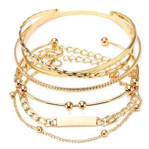 5Pcs Punk Gold Color Stacking Thick Chain Bracelet for Women Hip Hop Layered Corrugated Snake Bracelet Set Pulseras