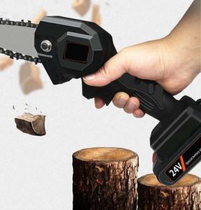NEW 24v 550w мини одна рука пила деревообрабатывающий электрическая цепная пила для резки дерева беспроводной