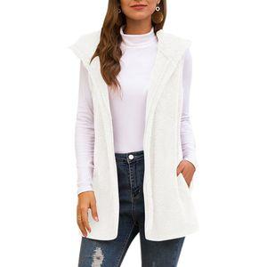Autumn Winter Women Fleece Hooded Sleeveless Solid Female Vest Streetwear Casual Pocket Women's Coat Cardigan