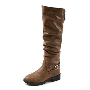 Knee High Martin Boots Women Shoes Gothic Leather Boot Flats Autumn Ladies Boots Zipper Fashion Retro Long Plus Size 35-43