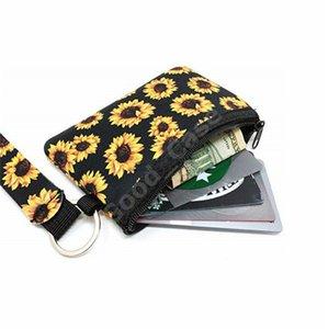 ID Wallets Cow Printed Neoprene Coin Purse Passport Mini Card MultiFunction Wristlet Leopard Sunflower Handbag Holder Cover Keychain F1 Shmj
