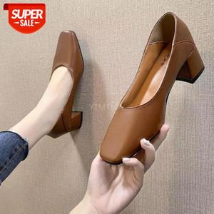 YTMTLOY Spring New Ladies Zapatos Casual Mujeres Zapatos Cómodos Toe Plaza Trabajador Sólido Negro Zapatos Tacon Mujer Bombas # DT3A