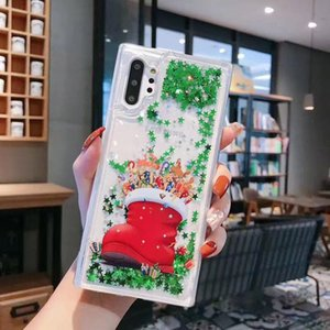 Luxury Shiny Mobile Phone Protective Case For Samsung s8 note10 plus Christmas Quicksand Glitter Mobile Phone Case OWB2343