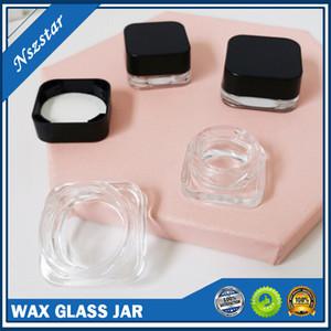 Tarro de vidrio para prueba de niños para cera y concentrados Contenedores de paquetes Estilo cuadrado 3ML 5 ML MEDICIDO DAB Cera de contenedores de almacenamiento