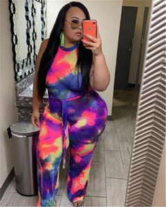 Loose Plus Size Rompers Women Tie Dye Halter Rompers Fashion Trend Sleeveless Round Neck Sexy Jumpsuits Designer Summer Female Playsuit