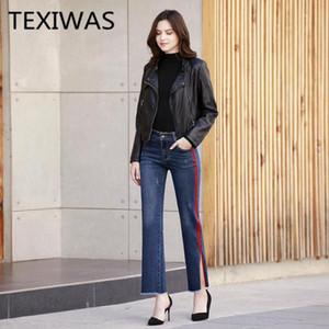 TEXIWAS Split Breitbein Hosen gerade Hosen Frauen Denim Jeans mit hoher Taille Palazzo elegante Hose Street