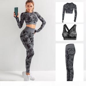 Высокое качество конструктора тавра женщин хлопка йоги костюм с длинным рукавом SPORTWEAR костюмы Фитнес Gymshark Спорт три кусок набор 3шт наряды бюстгальтер
