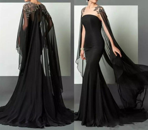 Elie Saab Balck Mermaid Prom Dresses With Cape Shiny Beaded Illusion Red Carpet Evening gowns Formal Wear Celebrity Party robes de soiree