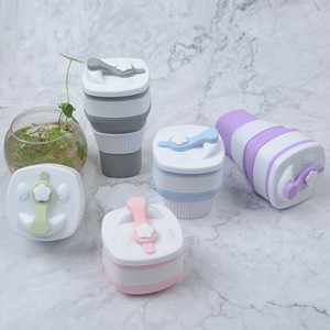 New creative square silicone coffee cup outdoor travel fold-able coffee cup Car water cup 5 colors available