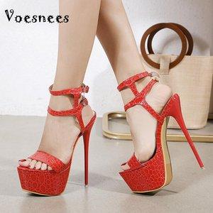 Voesnees Zapatos para mujer 2021Summer Nueva moda Patrón de piedra Sandalias Sandalias Impermeable Plataforma Alto Tacones Hembra Zapatos