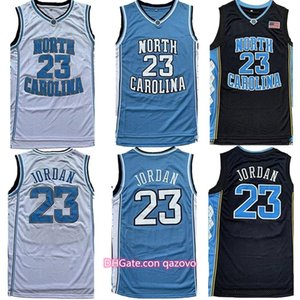 Мужчины NCAA North Carolina Tarкаблуки 23Майкл Джерси UNC College Basketball трикотажные изделия Черный Белый Синий Бесплатная доставка