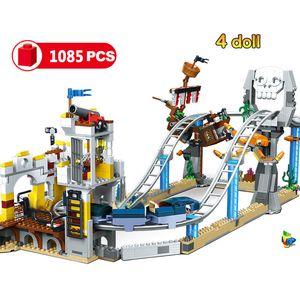 1085pcs 3IN1 مدينة القراصنة السفينة الدوارة بناء كتل لعب متوافق صانعي الطوب ألعاب للهدايا صديق فتاة الأطفال 1008