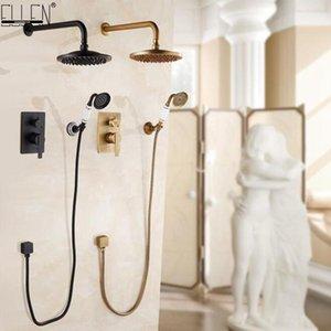 Ellen parete doccia Set vasca da bagno doccia Sistema bronzo Pioggia Cascata In Parete Bagno doccia calda e fredda Els10 bbyaZN wrhome