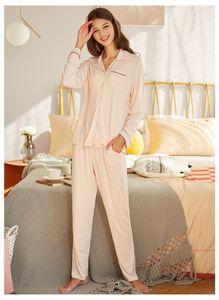 APPESHION 2 PCS WOMEN'S Knit Modal lapel long sleeve home wear pajamas set sleepwear