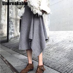 Moda Düzensiz Etek Kadın Triko Etek Elastik Bel Pileli Orta uzunlukta Kadın Örme Etekler 2020 Kış